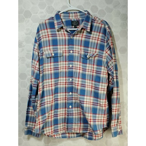 J. Crew Sporting Goods Button Up Flannel Red White Blue Men's Size Large